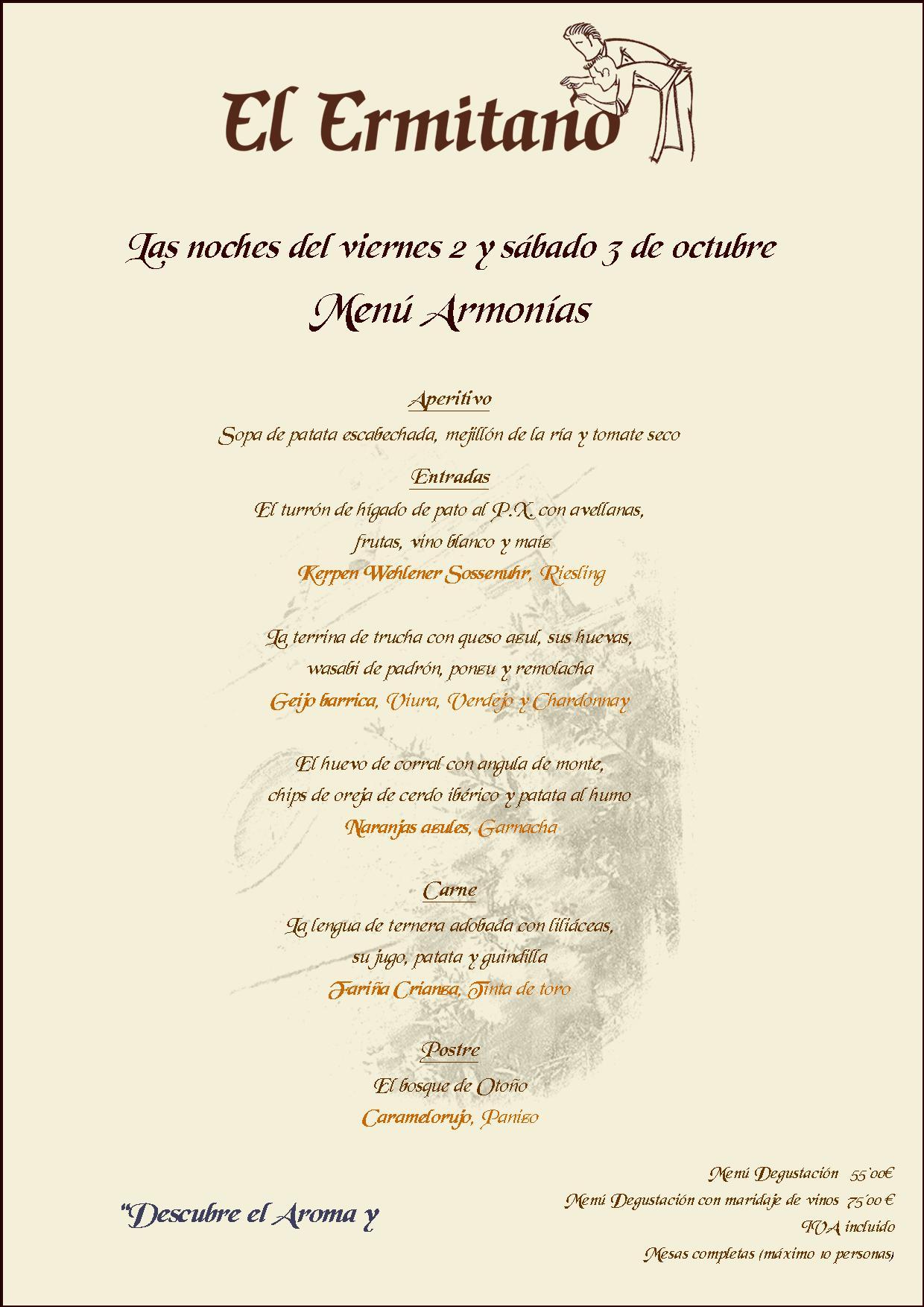 ARMONIAS CENAS 2 Y 3 DE OCTUBRE