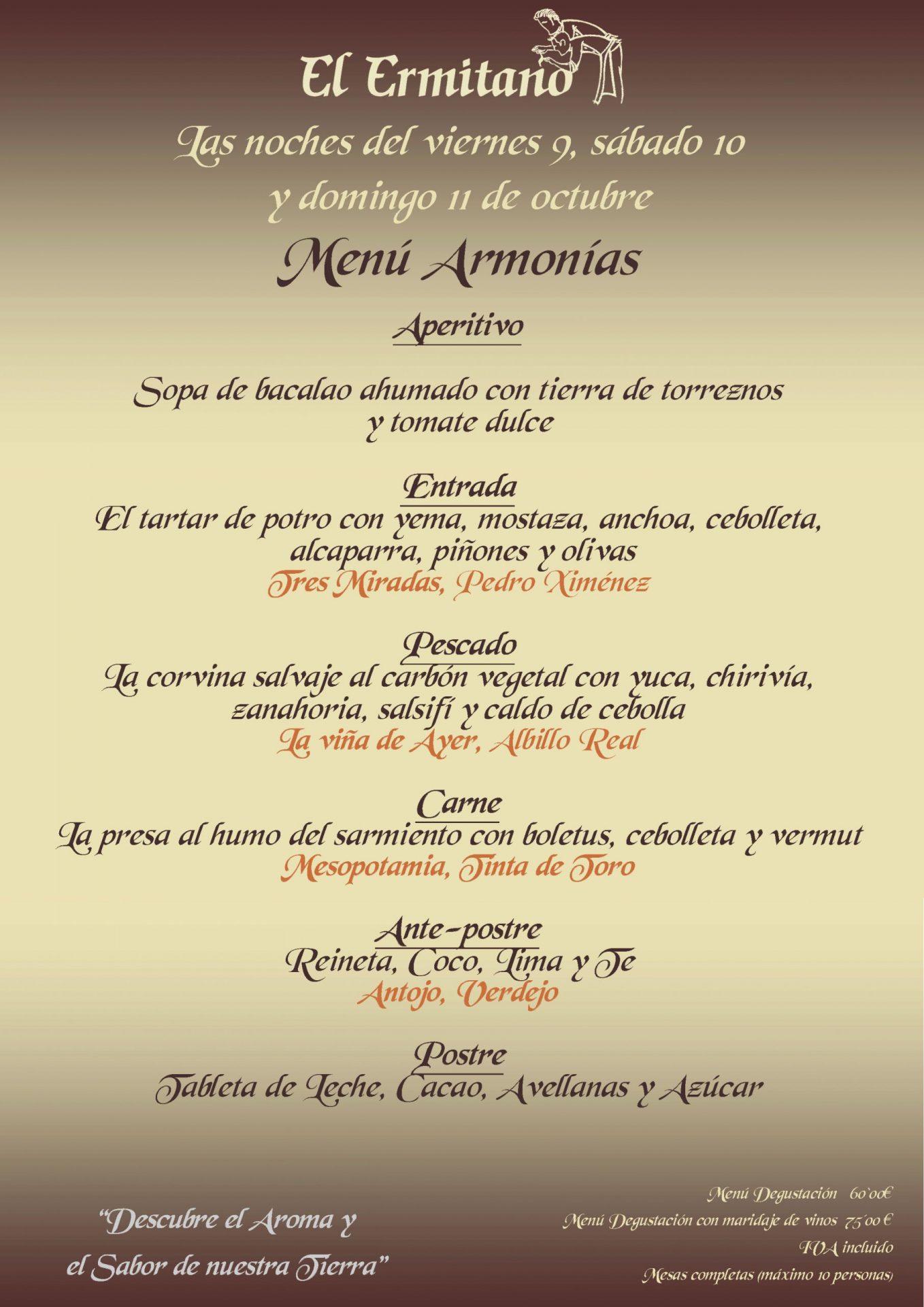 ARMONIAS CENAS 9, 10 Y 11 DE OCTUBRE